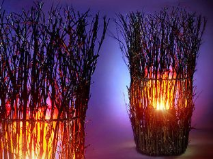 Twigs Vase Silk Flame Simulated Fire Effect Flaming Torch Light